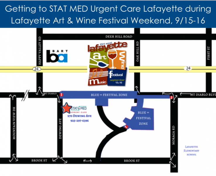 Map of Alternative Routes to STAT MED Urgent Care - Lafayette